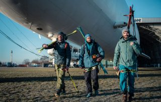 Zeppelin-Skiing Extremskifahrer