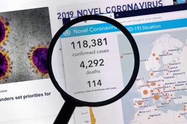 Coronavirus Zahlen und Zusammenhaenge, Lupe und Karte, Blog Simone Giesler