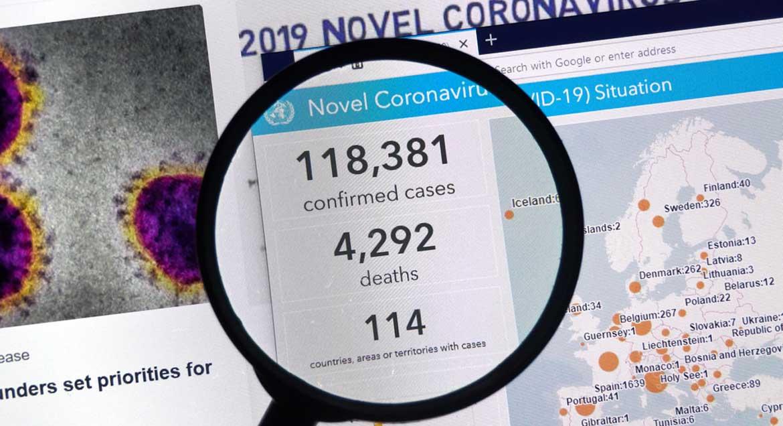 Corona Shutdown Zahlen und Zusammenhaenge, Lupe und Karte, Blog Simone Giesler